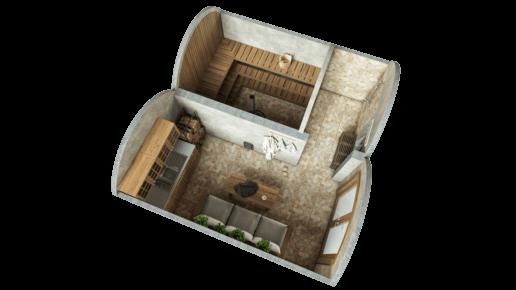 Vaulted Sauna 19.4 m²  STANDARD package (glass option)